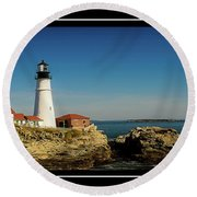 Portland Head Lighthouse 7 Round Beach Towel by Sherman Perry