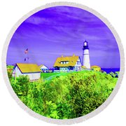 Portland Head Lighthouse Round Beach Towel by Ann Johndro-Collins