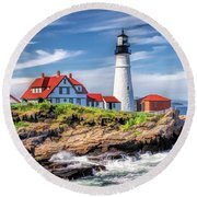 Round Beach Towel featuring the painting Portland Head Lighthouse by Christopher Arndt