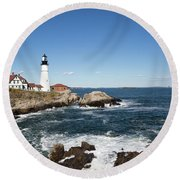 Portland Head Lighthouse Maine Round Beach Towel