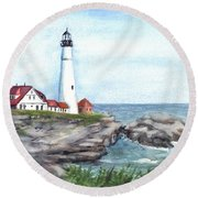 Portland Head Lighthouse Maine Usa Round Beach Towel by Carol Wisniewski