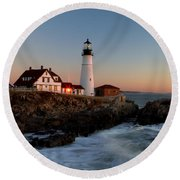 Round Beach Towel featuring the photograph Portland Head Lighthouse Sunrise by Betty Pauwels