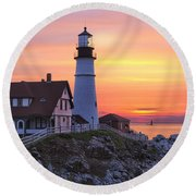 Portland Head Lighthouse Sunrise Round Beach Towel