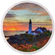 Round Beach Towel featuring the photograph Portland Head Lighthouse Sunrise by Joann Vitali