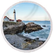 Portland Headlight And Ram Island Light Round Beach Towel