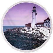 Maine Portland Headlight Lighthouse In Winter Snow Round Beach Towel