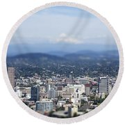 Portland In Perspective Round Beach Towel