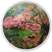 Round Beach Towel featuring the painting Portland Japanese Maple by LaVonne Hand