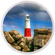 Portland Lighthouse, Uk Round Beach Towel by Chris Smith