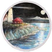 Portland Maine Twilight Round Beach Towel by Bernadette Krupa