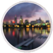 Portland Oregon City Skyline Out Of Focus Bokeh Lights Round Beach Towel