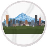 Portland Oregon Skyline Color Illustration Round Beach Towel