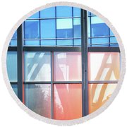 Portland Reflections And Distortions Round Beach Towel