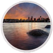 Portland Skyline Along Willamette River At Sunset Round Beach Towel