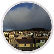 Round Beach Towel featuring the photograph Portland Skyline by Anne Kotan