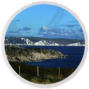 Round Beach Towel featuring the photograph Portland To Weymouth  by Baggieoldboy
