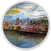 Portland Waterfront From Broadway Bridge Round Beach Towel