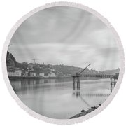 Porto Landscape With A Sky Round Beach Towel