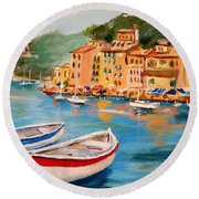 Round Beach Towel featuring the painting Portofino II by Alan Lakin