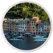Round Beach Towel featuring the photograph Portofino Morning Panoramic II by Brian Jannsen