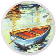 Round Beach Towel featuring the painting Portofino Passage by Rae Andrews