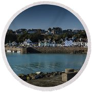 Portpatrick Harbour And Lighthouse Round Beach Towel