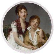 Portrait D'amelie-justine Et De Charles-edouard Pontois Round Beach Towel