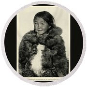 Portrait Girl Child Smith Sound Eskimo Tribe North Greenlan Round Beach Towel