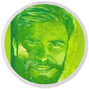 Portrait In Green Round Beach Towel