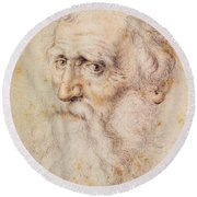 Portrait Of A Bearded Old Man Round Beach Towel