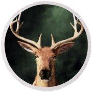 Round Beach Towel featuring the digital art Portrait Of A Buck by Daniel Eskridge