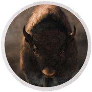 Round Beach Towel featuring the digital art Portrait Of A Buffalo by Daniel Eskridge