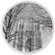 Portrait Of A Cathedral Round Beach Towel by John S