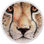 Portrait Of A Cheetah Round Beach Towel by Heidi Kriel