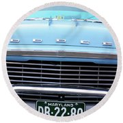 Round Beach Towel featuring the photograph Portrait Of A Classic Dodge by John S