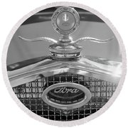 Portrait Of A Classic Ford Round Beach Towel by John S