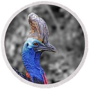 Portrait Of A Double-wattled Cassowary II Altered Version Round Beach Towel by Jim Fitzpatrick