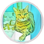 Portrait Of A Feline Round Beach Towel
