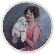 Maggie And Caruso -portrait Of A Flapper Girl Round Beach Towel