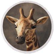 Round Beach Towel featuring the digital art Portrait Of A Giraffe  by Daniel Eskridge
