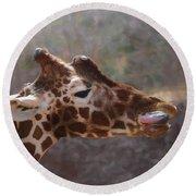 Round Beach Towel featuring the digital art Portrait Of A Giraffe by Ernie Echols