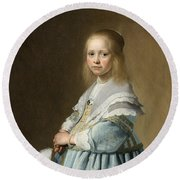 Portrait Of A Girl Dressed In Blue By J. Cornelisz Round Beach Towel