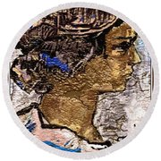 Round Beach Towel featuring the digital art Portrait Of A Girl Pog2 by Pemaro