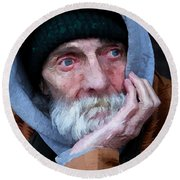 Portrait Of A Homeless Man Round Beach Towel