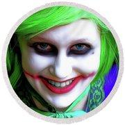 Portrait Of A Joker Round Beach Towel