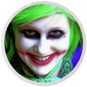 Portrait Of A Joker Round Beach Towel
