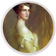 Portrait Of A Lady In Yellow Round Beach Towel