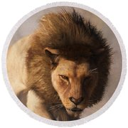 Round Beach Towel featuring the digital art Portrait Of A Lion by Daniel Eskridge