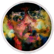 Portrait Of A Man In Sunglass Smoking A Cigar In The Sunshine Wearing A Hat And Riding A Motorcycle In Pink Green Yellow Black Blue Oil Paint With Raking Light To Pick Up Paint Texture Round Beach Towel