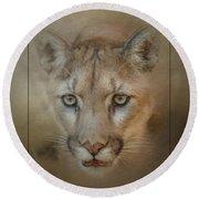 Portrait Of A Mountain Lion Round Beach Towel